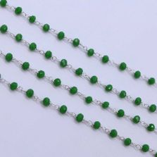 Emerald Color 3 to 3.5mm Sterling Silver Wire Wrapped Rosary Chain