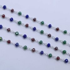 Multi Color 3 to 3.5mm Sterling Silver Wire Wrapped Rosary Chain