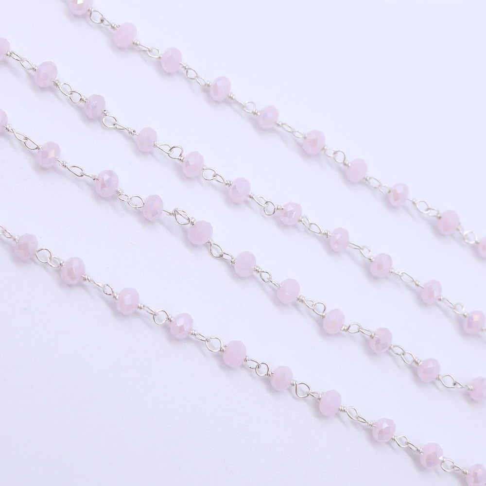 Rose Quartz Color 3 to 3.5mm Sterling Silver Wire Wrapped Rosary Chain