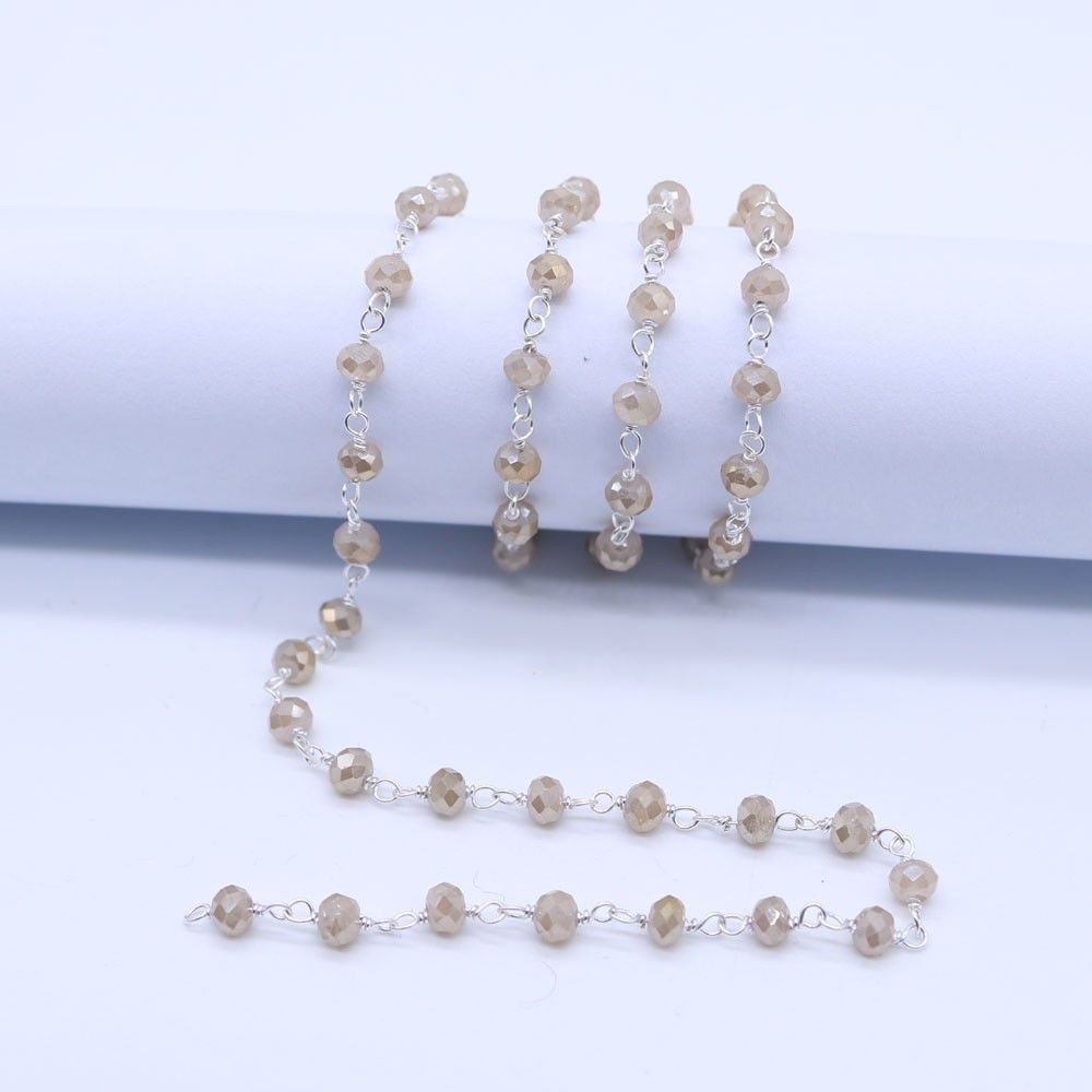 Peach Moonstone Color 3 to 3.5mm Sterling Silver Wire Wrapped Rosary Chain