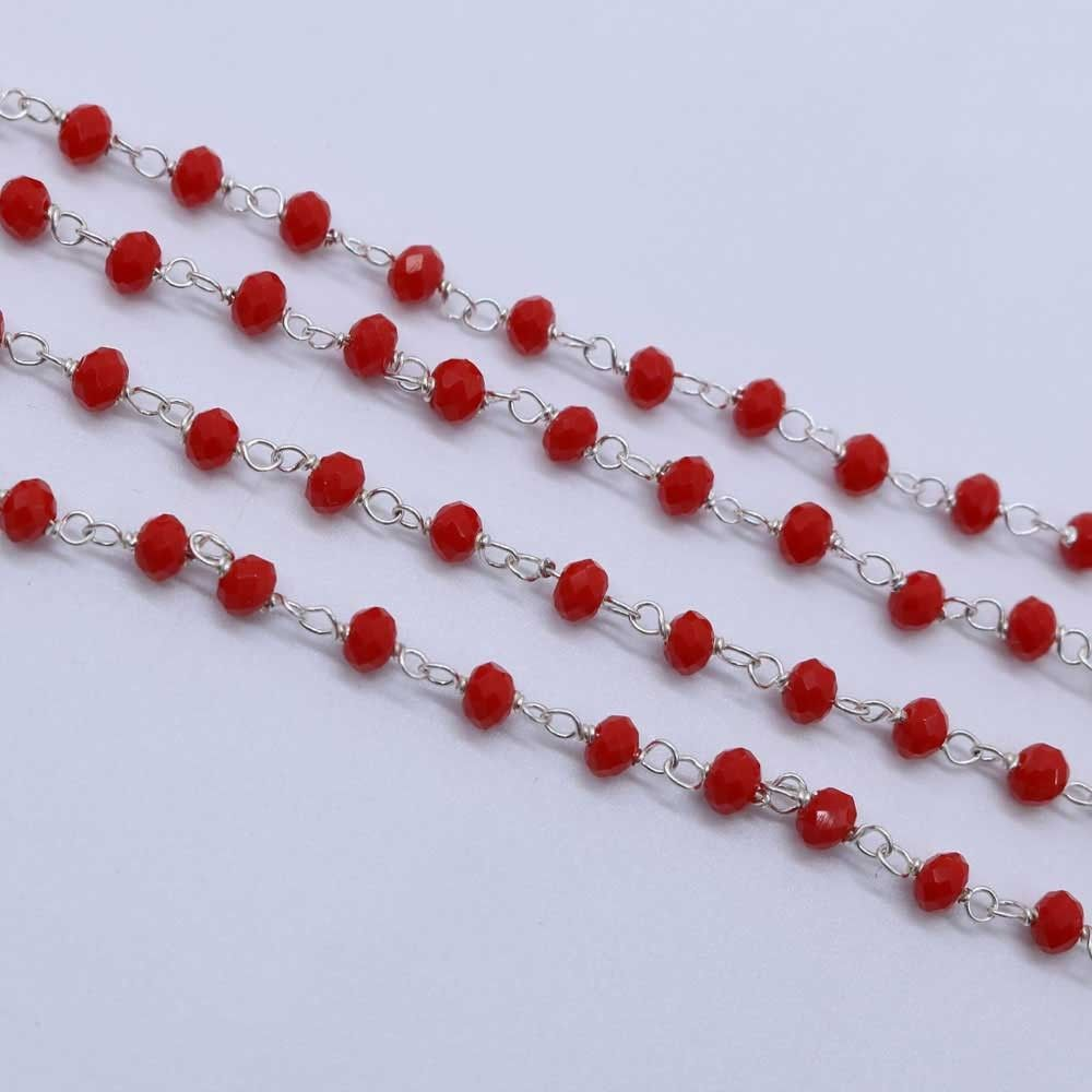 Red Coral Color 3 to 3.5mm Sterling Silver Wire Wrapped Rosary Chain