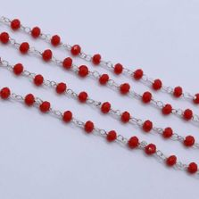 Red Coral Color 3 to 3.5mm Sterling Silver Wire Wrapped