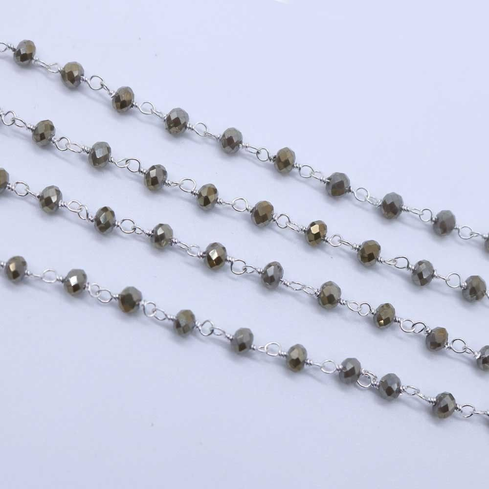 Pyrite Color 3 to 3.5mm Sterling Silver Wire Wrapped Rosary Chain