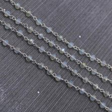 Rainbow Moonstone Color 3 to 3.5mm Sterling Silver Wire Wrapped Rosary Chain