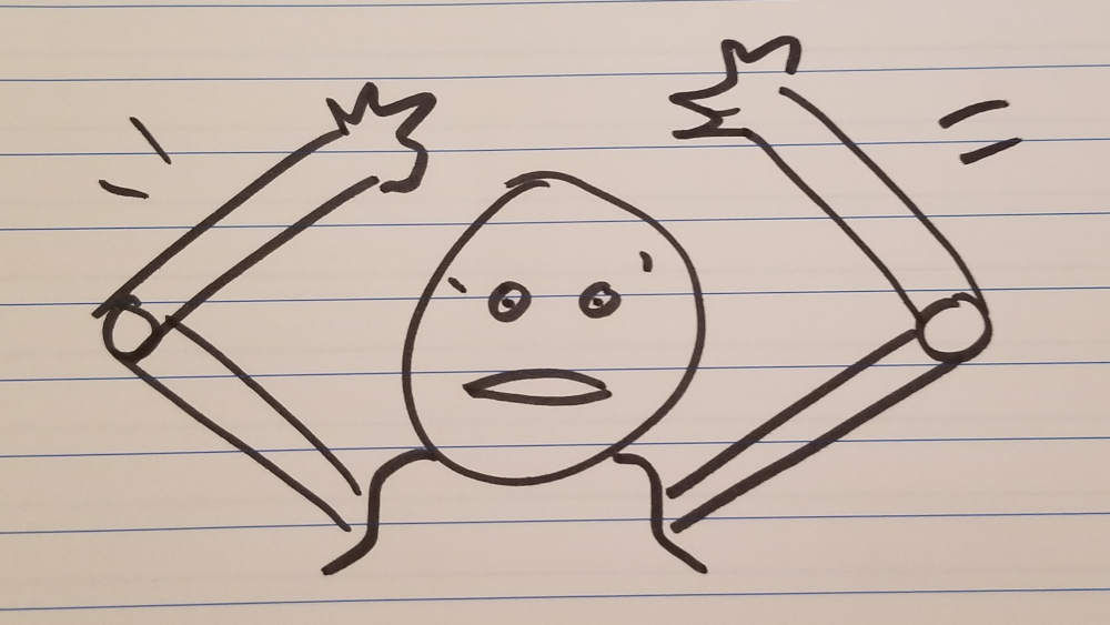 Drawing of person waving arms above head