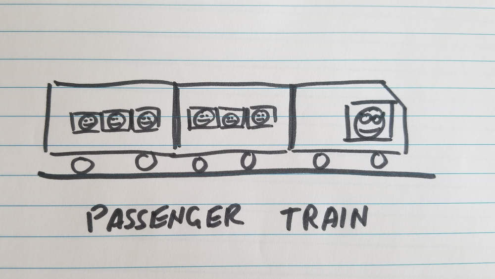 Drawing of passenger train