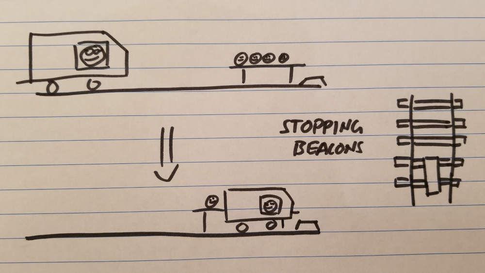 Drawing of train stopping at platform