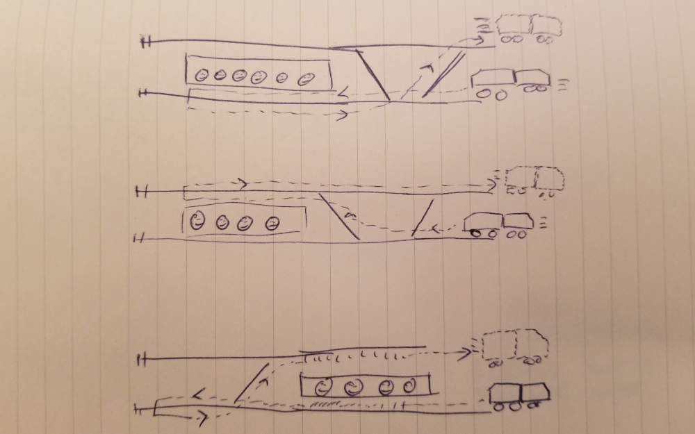 Drawing of end of train line turnback