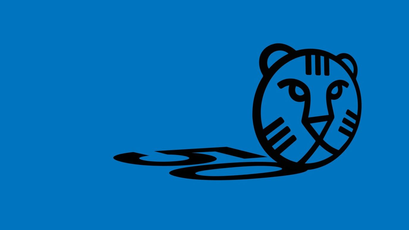 The logo of the 50th IFFR edition in black on a blue background.
