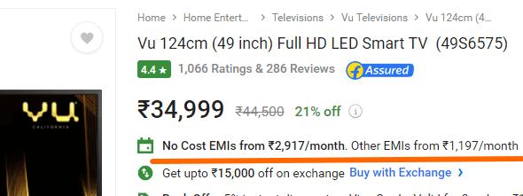 VU TV no Cost EMI