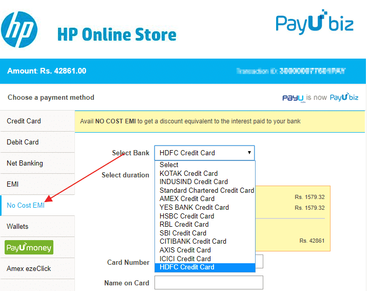 HP Online Store No Cost EMI