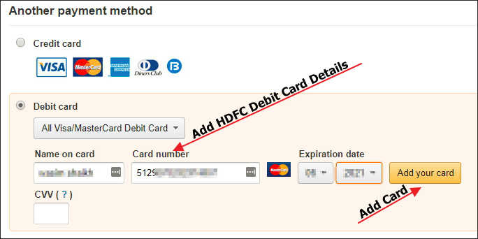 Add HDFC Debit Card