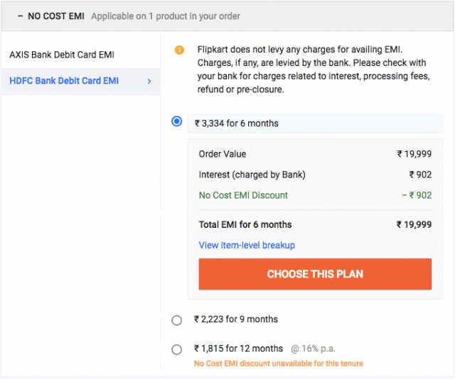 hdfc debit card emi on flipkart  80000 finance no documents