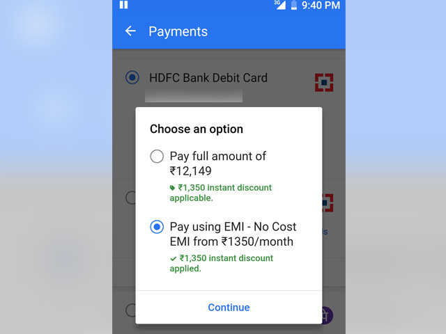 HDFC Debit EMI step1