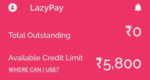 LazyPay credit limit without KYC