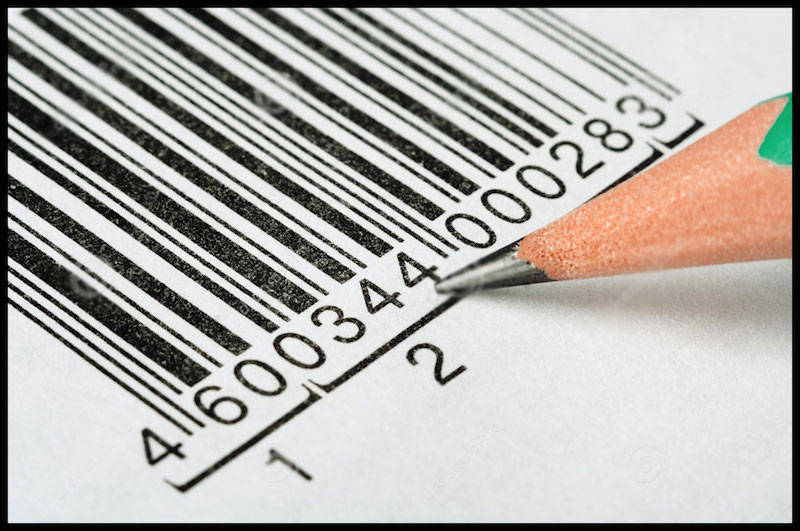 barcode symbol with a pencil