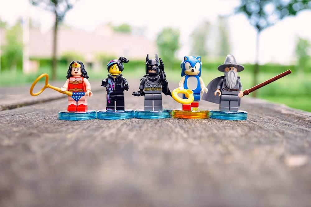 lego superheroes all in a row