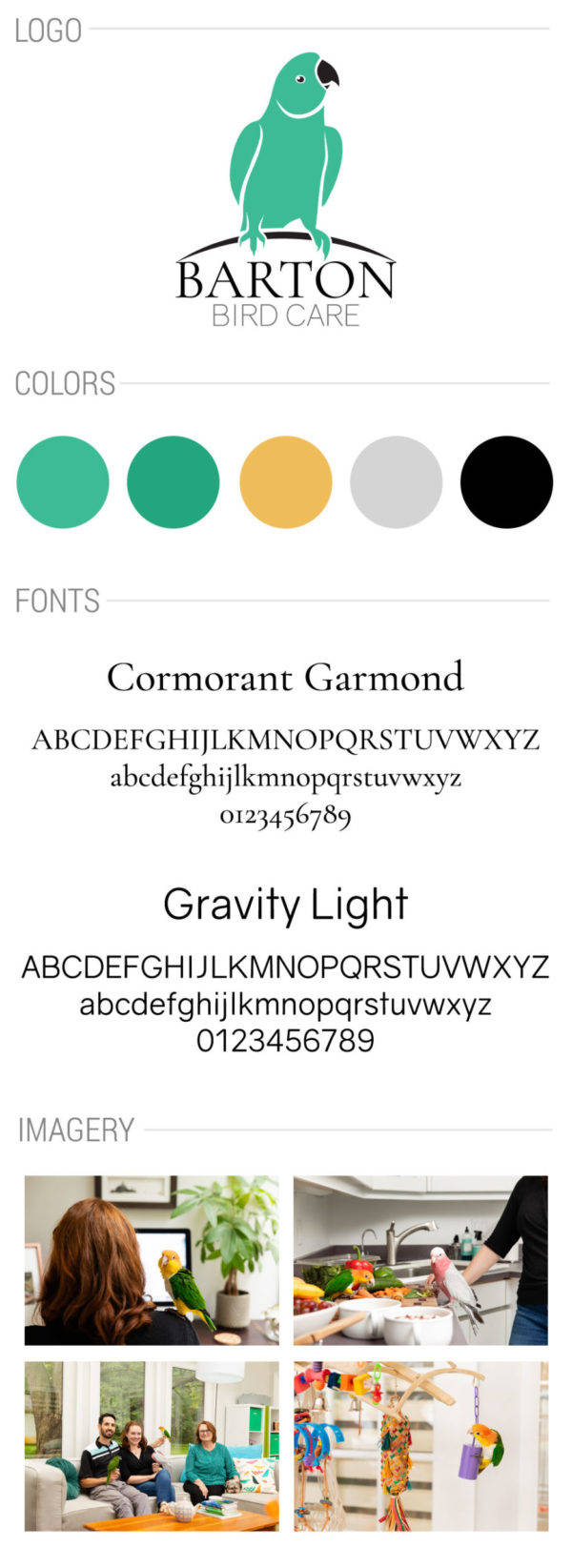Barton Bird Care style guide sheet including color palette fonts and photos