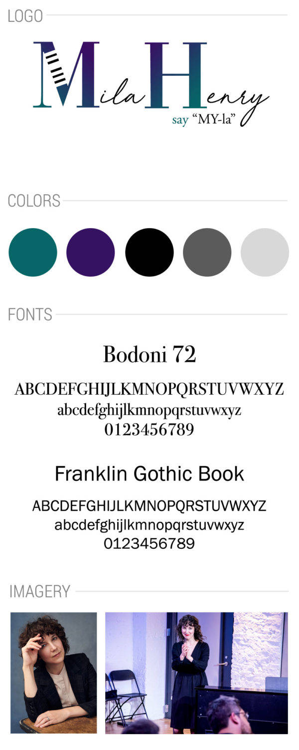 Mila Henry pianist style guide sheet including color palette fonts and photos