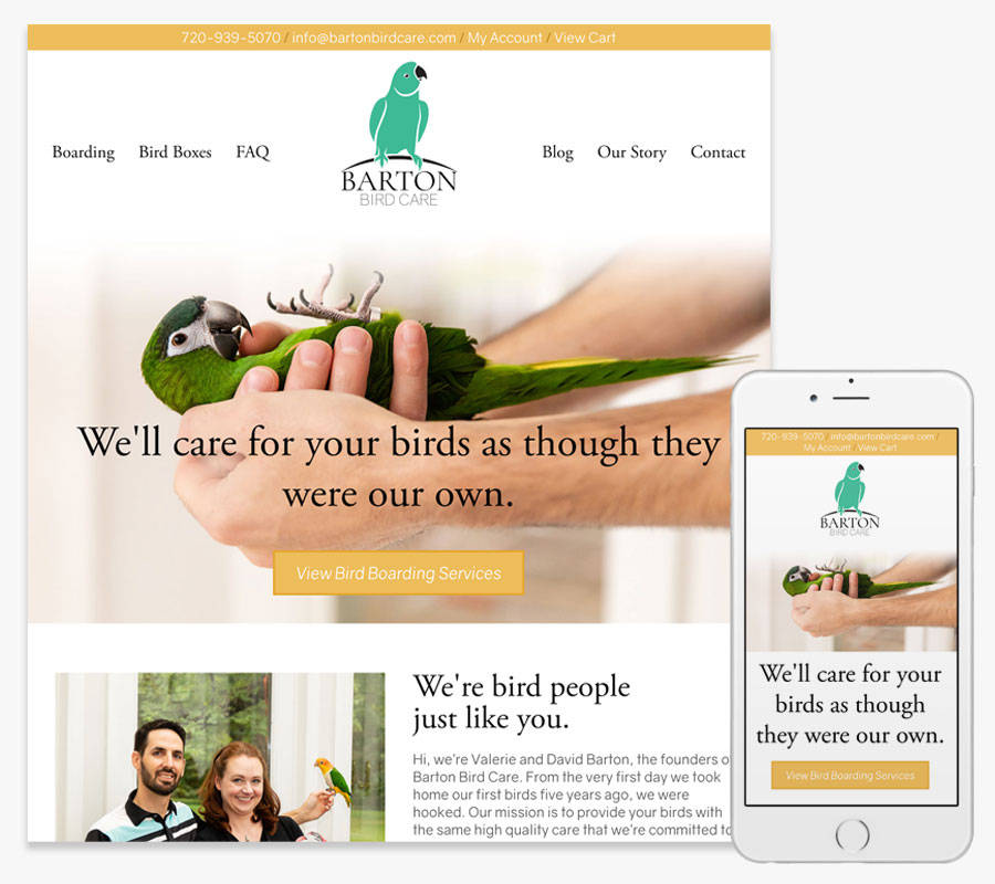 Barton Bird Care website both in desktop and mobile view