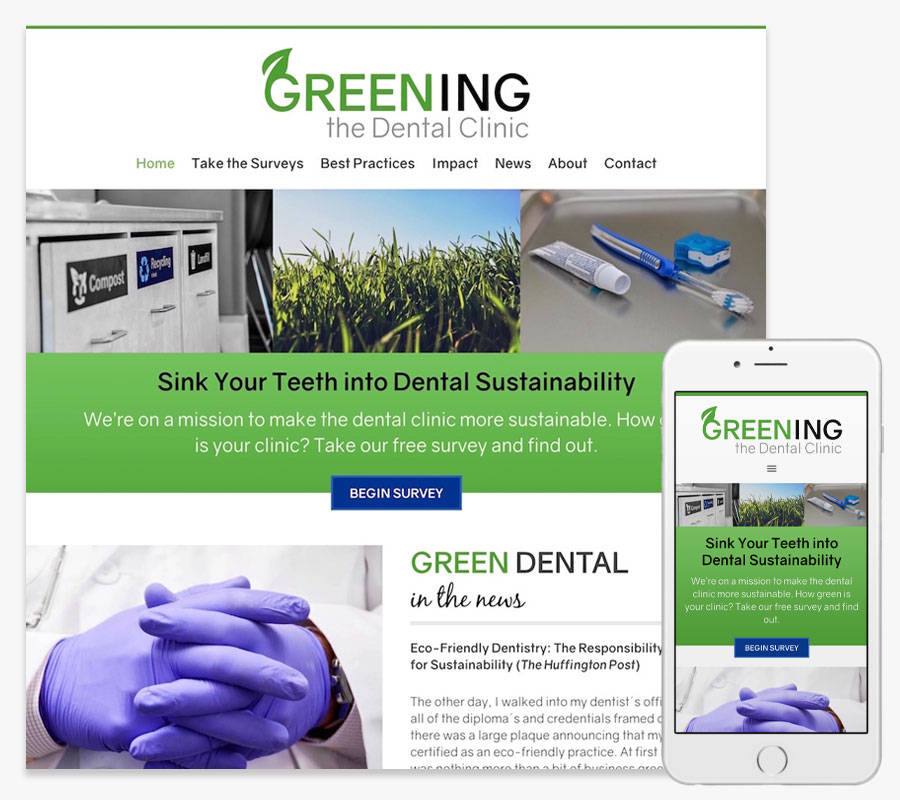 Greening the Dental Clinic website both in desktop and mobile view