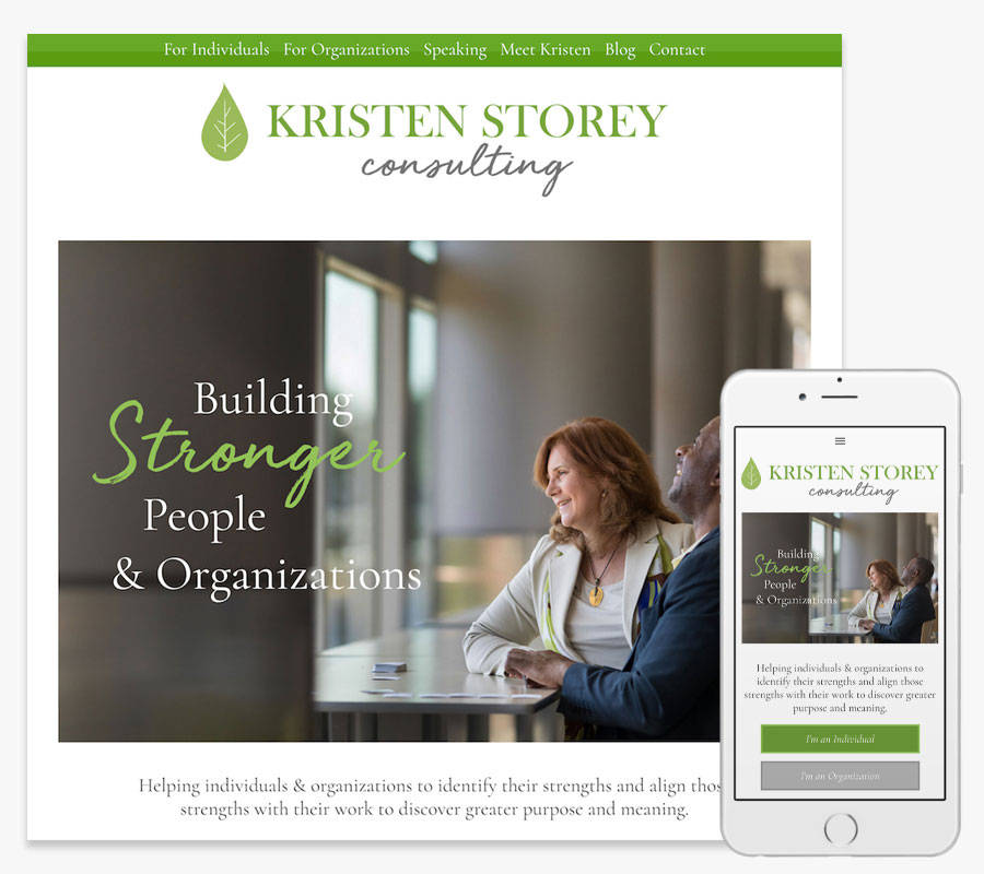 Kristen Storey Consulting website both in desktop and mobile view