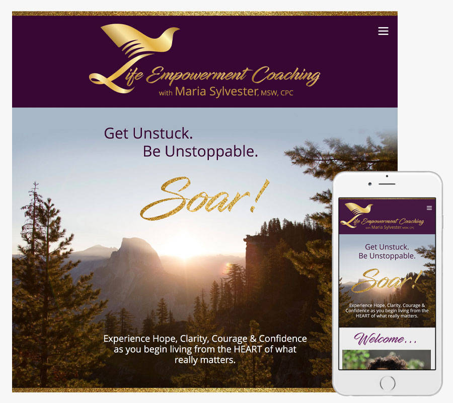 Life Empowerment Coaching with Maria Sylvester website both in desktop and mobile view