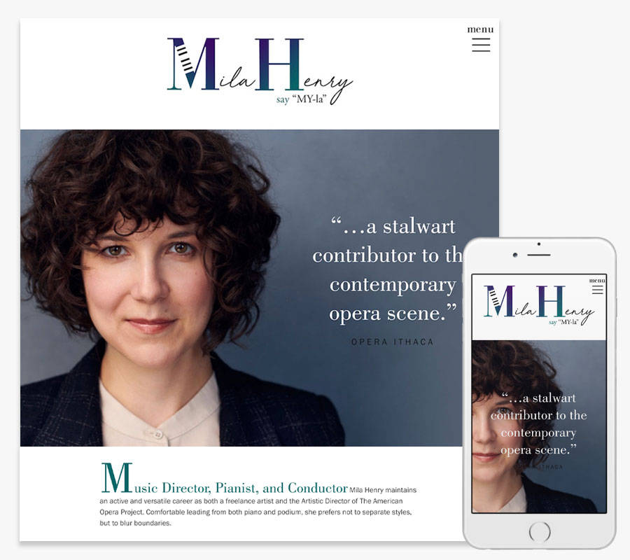 Mila Henry pianist website both in desktop and mobile view