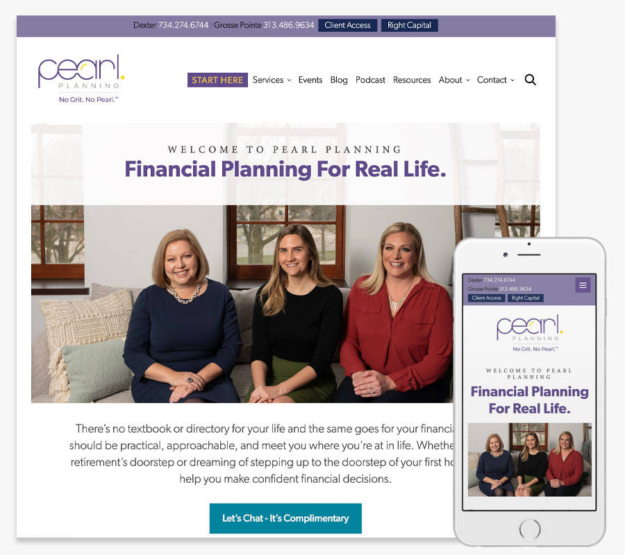 Pearl Planning website both in desktop and mobile view