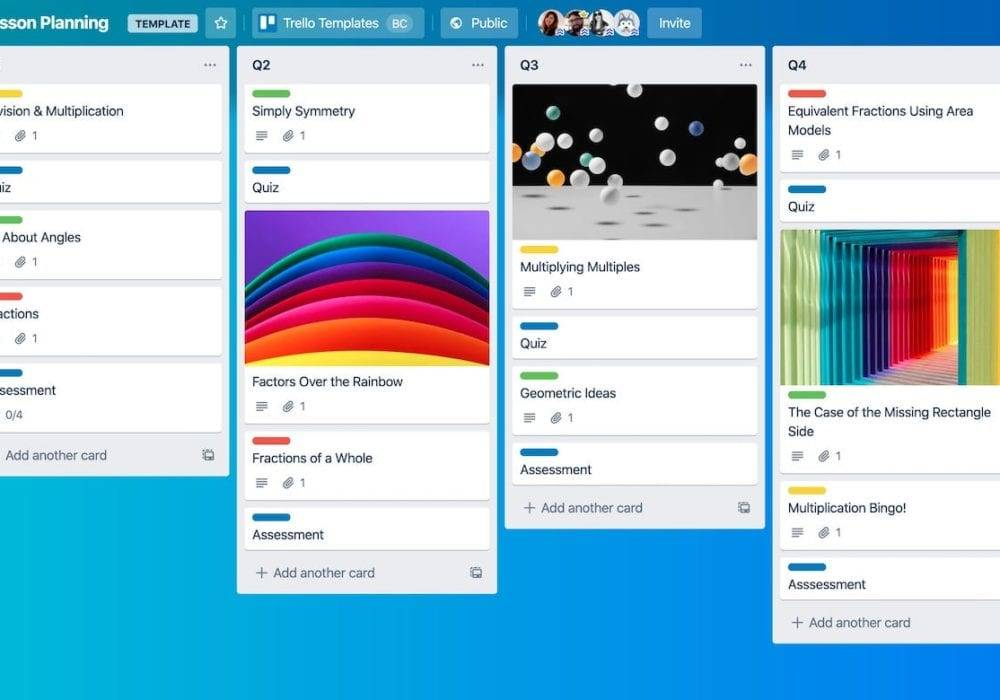 Trello for Business: screenshot of a trello board with lots of text and images