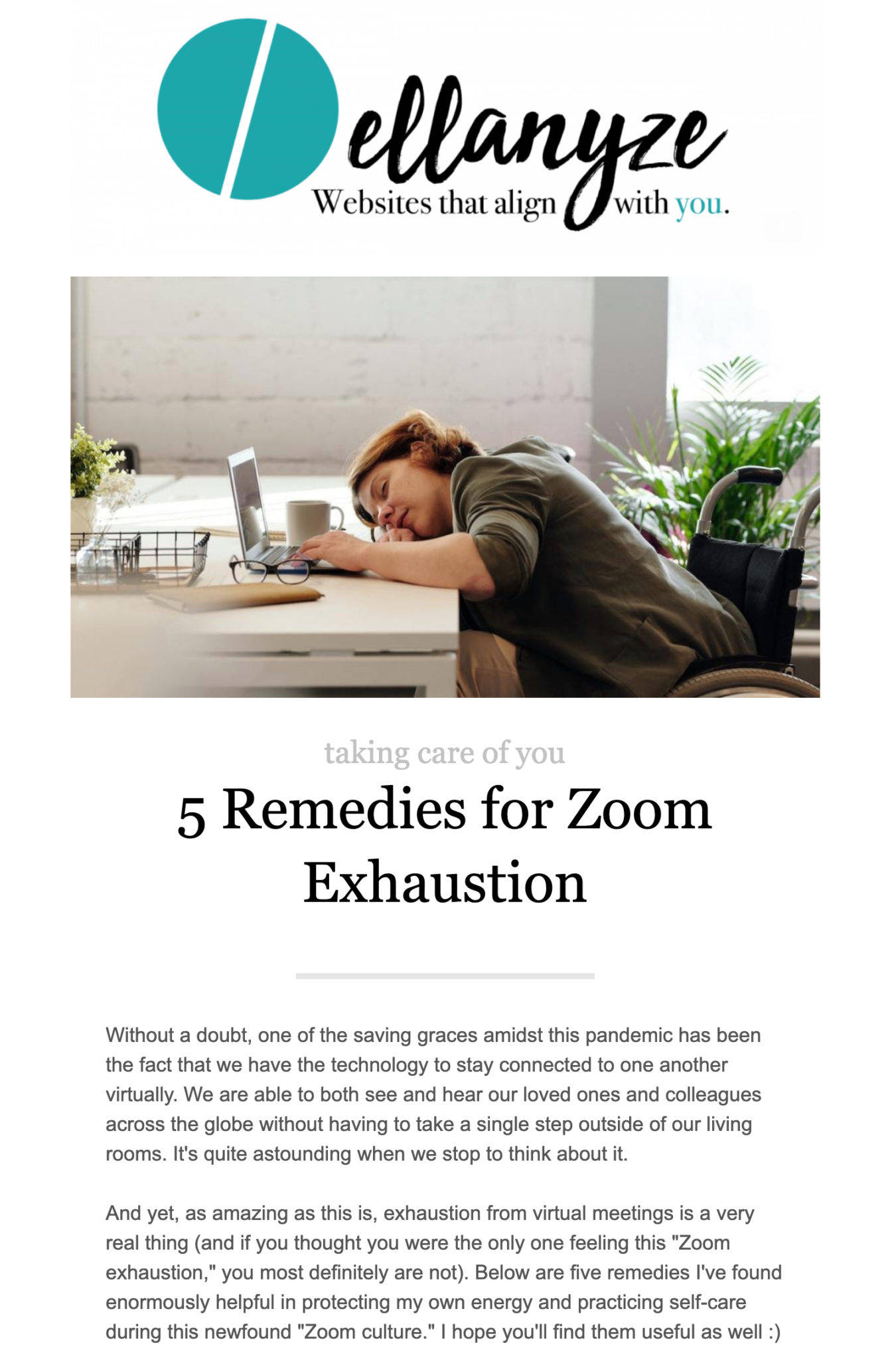 screenshot of an issue of Short & Sweet titled 5 Remedies for Zoom Exhaustion