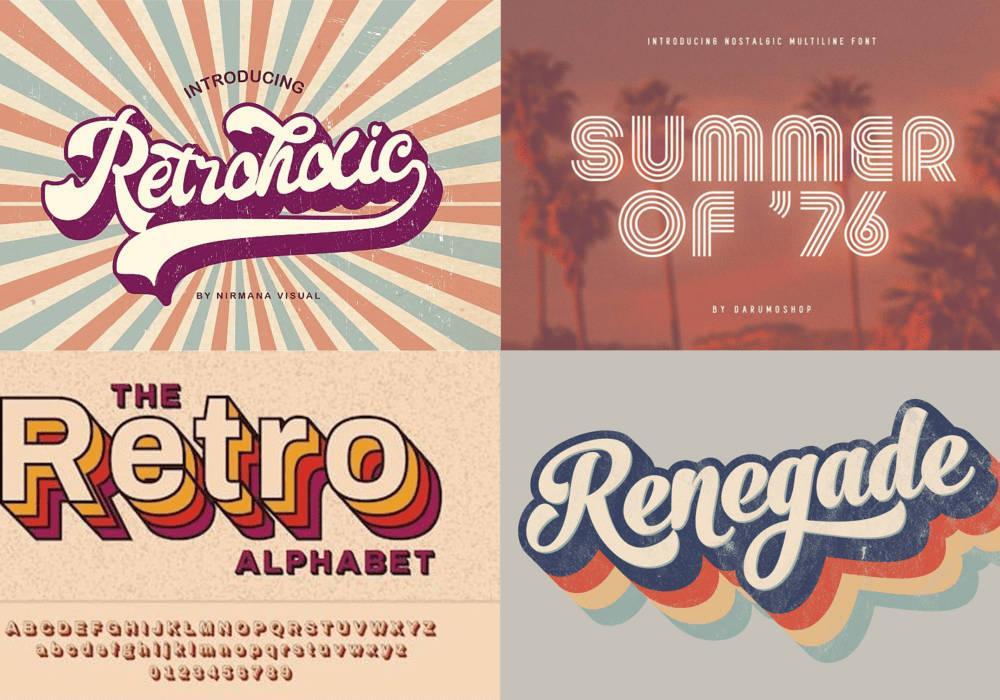 2021 Web Design Trends: quadrants of four retro style designs