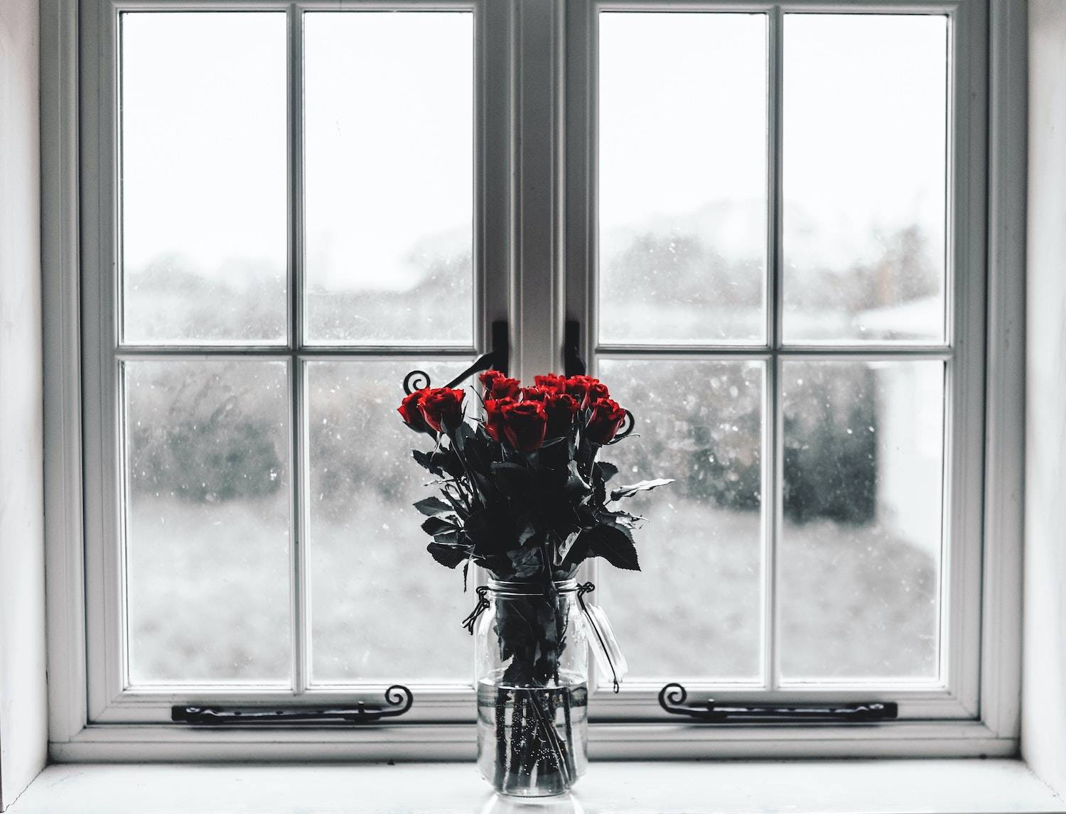 fun ways to cure the winter blues: a bouquet roses on top of a window with an icy cold white winter outside