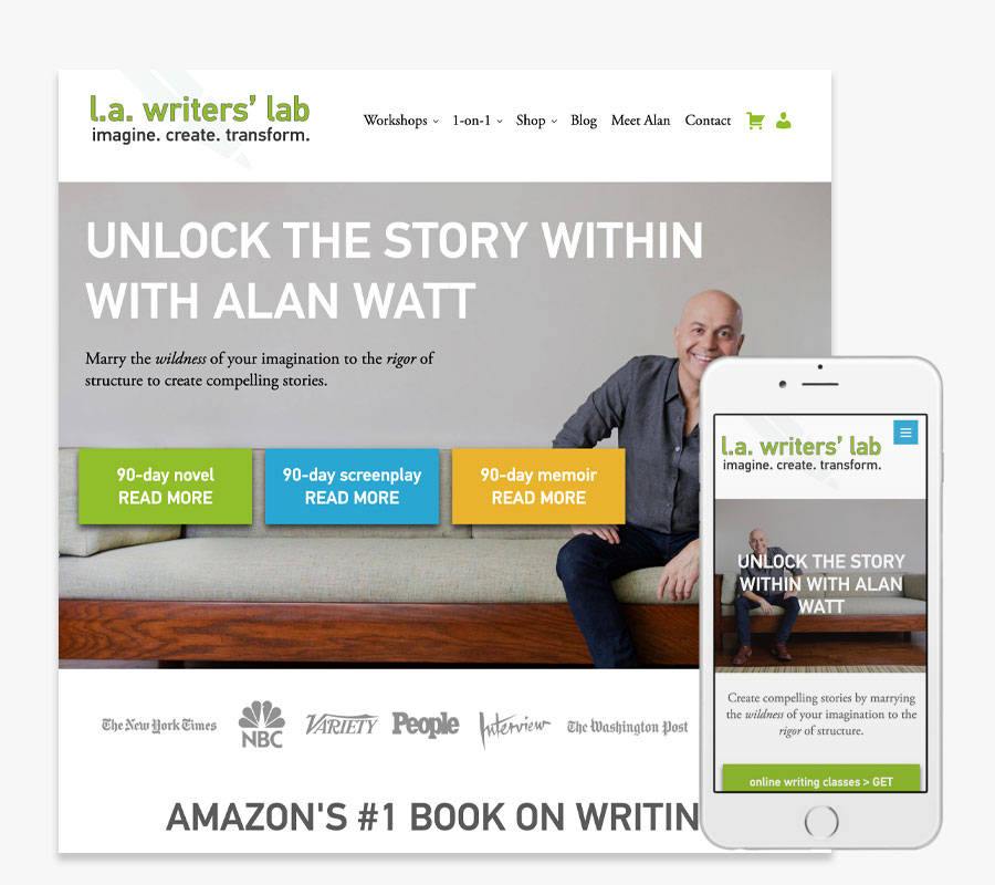 L.A. Writers Lab with Alan Watt website both in desktop and mobile view