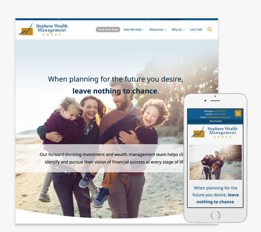 Stephens Wealth Management Group website both in desktop and mobile view