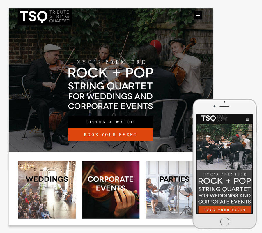 Tribute String Quartet website both in desktop and mobile view
