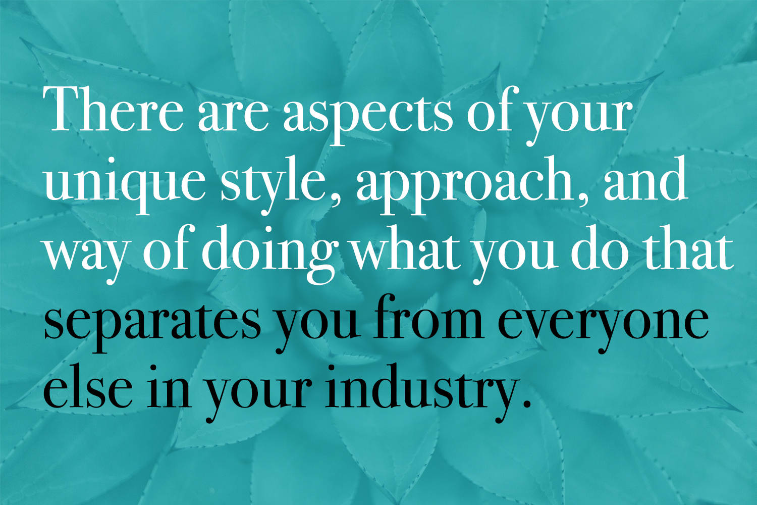 There are aspects of your unique style, approach, philosophy, and way of doing what you do that separates you from everyone else in your industry.