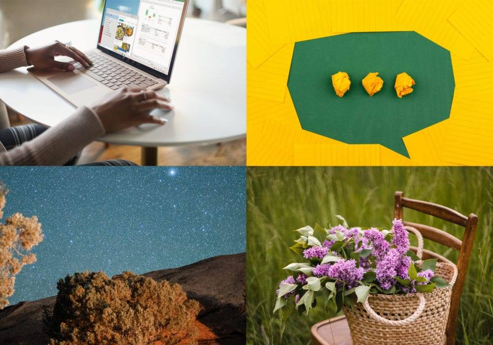 What pages should I have on my website? four images: woman at computer, talk bubble, starry night sky, lilacs in a basket