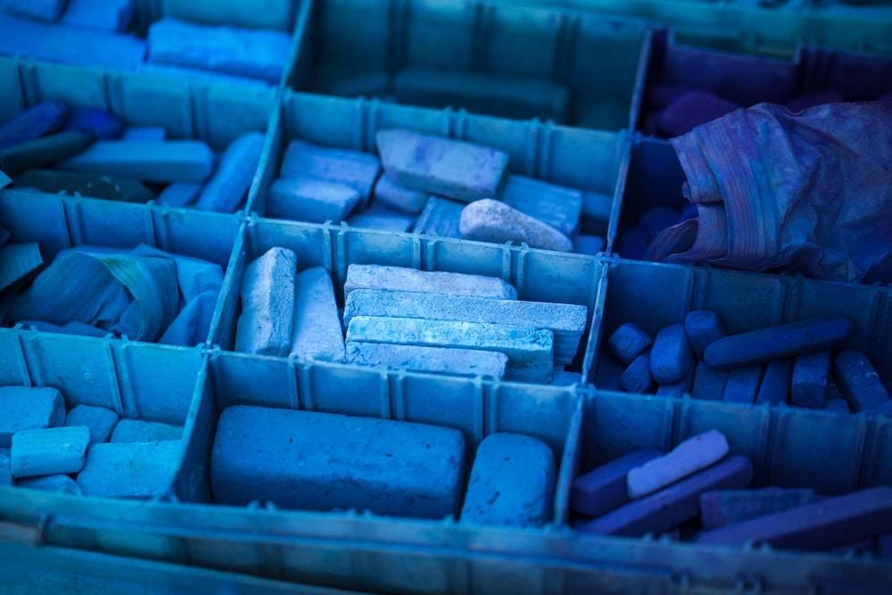 box of blue oil pastels