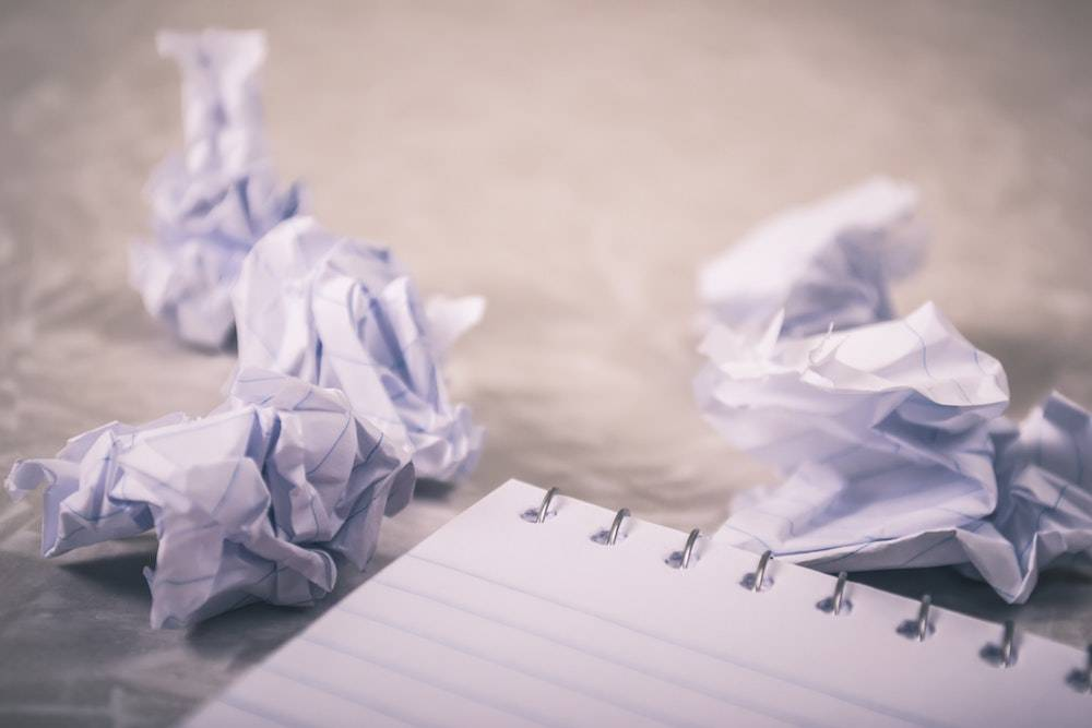 crumpled up pieces of paper