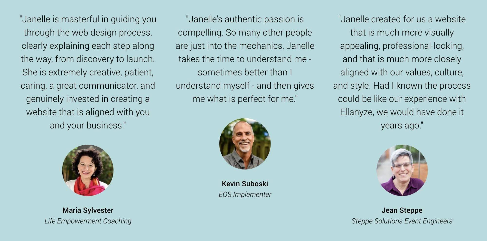 three customer testimonials