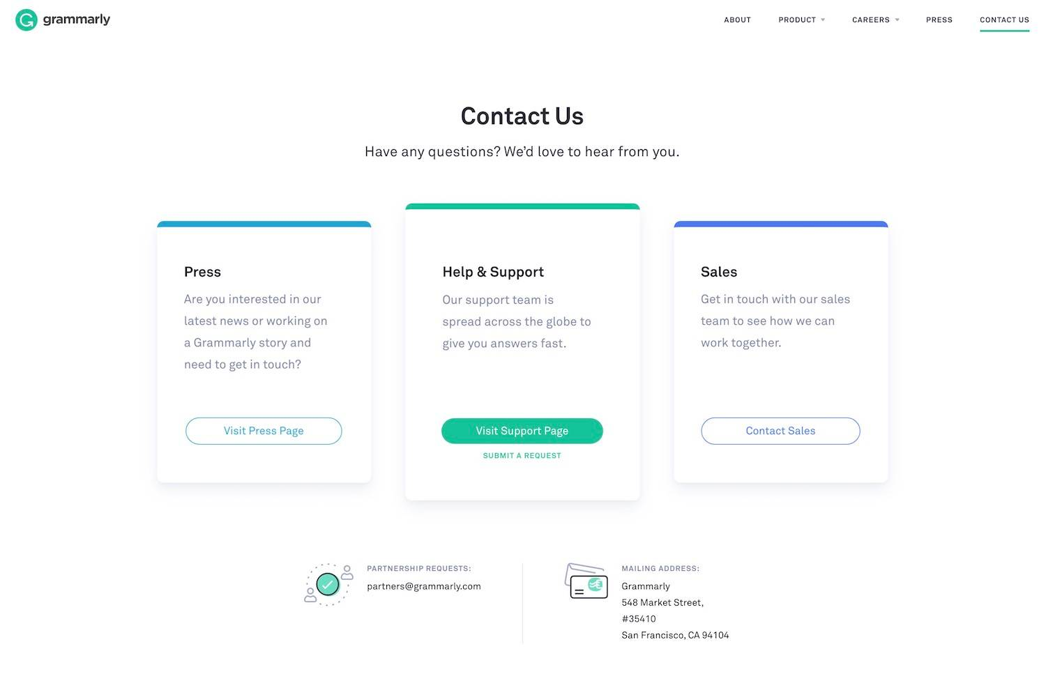 Grammarly best contact page examples