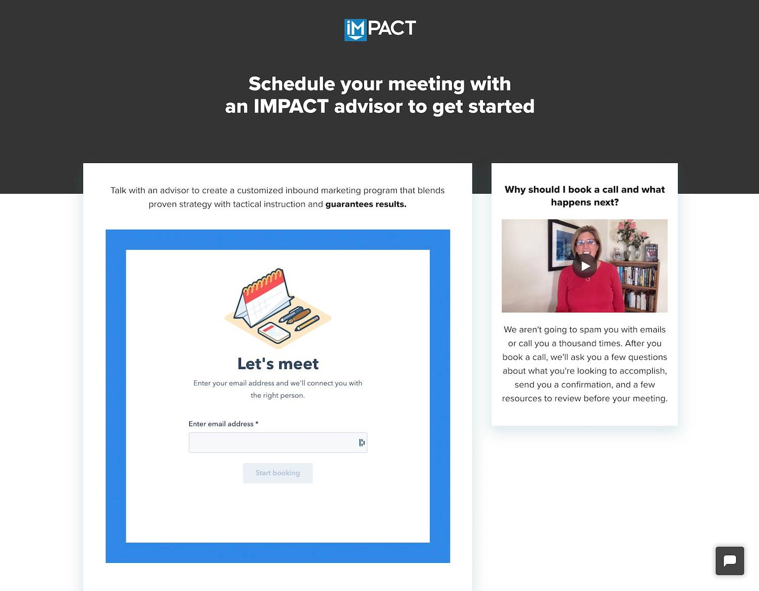 Impact contact page - best examples of contact pages