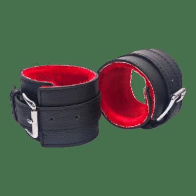 Devil Sticks - bőr bilincs (fekete piros)