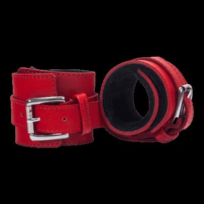 Devil Sticks - bőr bilincs (piros fekete)