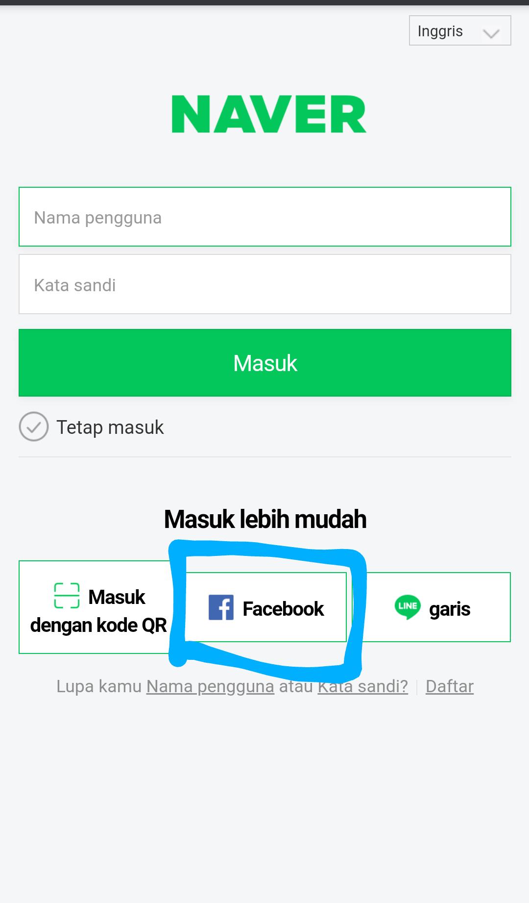 1. Masuk dengan menggunakan Facebook