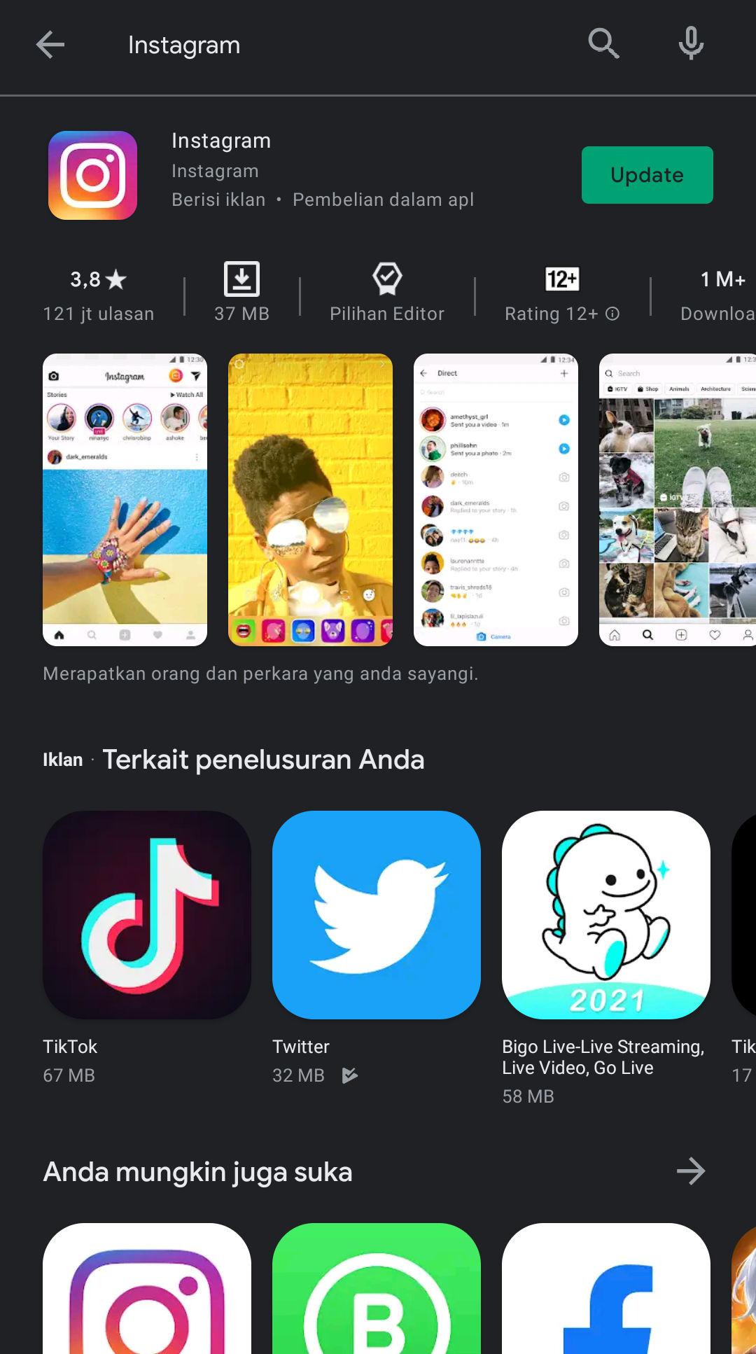 1. Download Aplikasi Instagram Di Playstore Atau Appstore