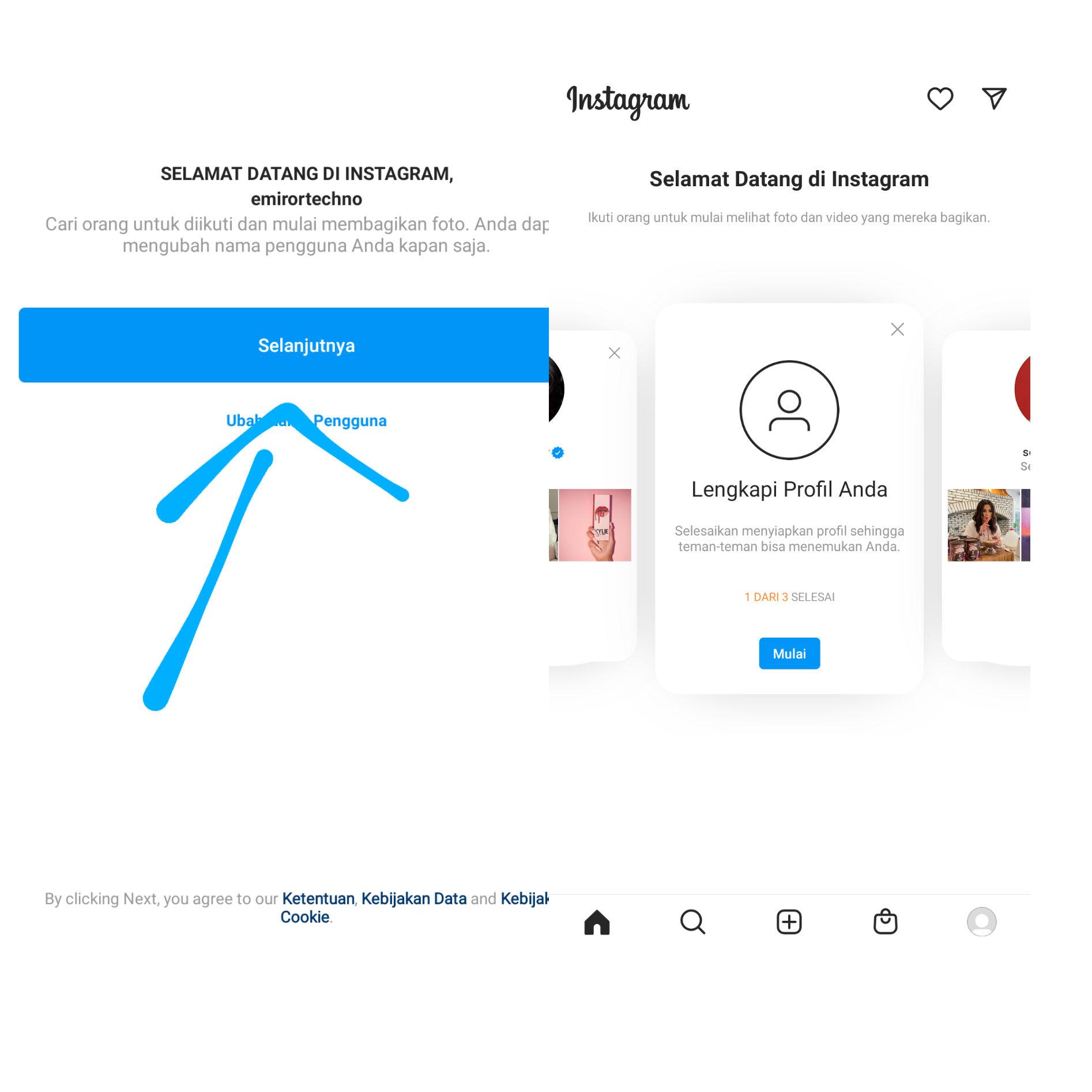 8. Selamat kini Anda Telah Terdaftar Di Instagram dengan menggunakan email