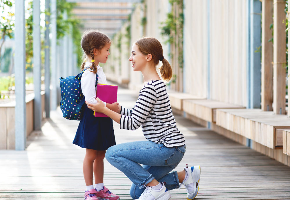 first day of school, mother and child