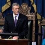 MASS. GOV. Charlie Baker introduced a $44.6 billion state budget proposal Wednesday. / AP FILE PHOTO/STEVEN SENNE